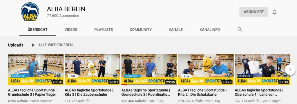 YouTube Channel Alba Berlin