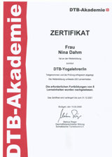 DTB Yoga Zertifikat - Nina Dahm